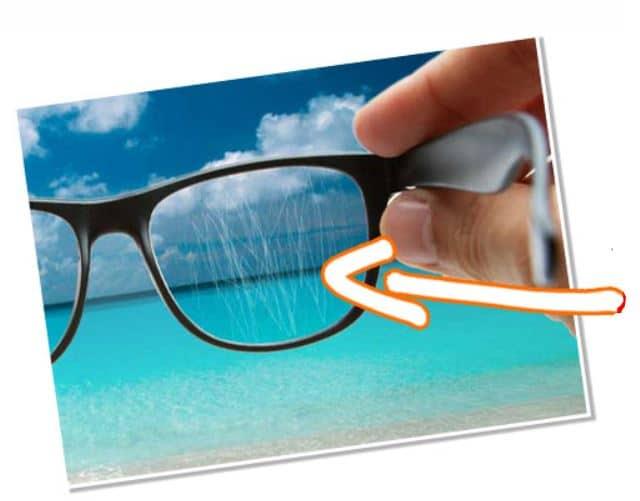 cristal de gafa arañada
