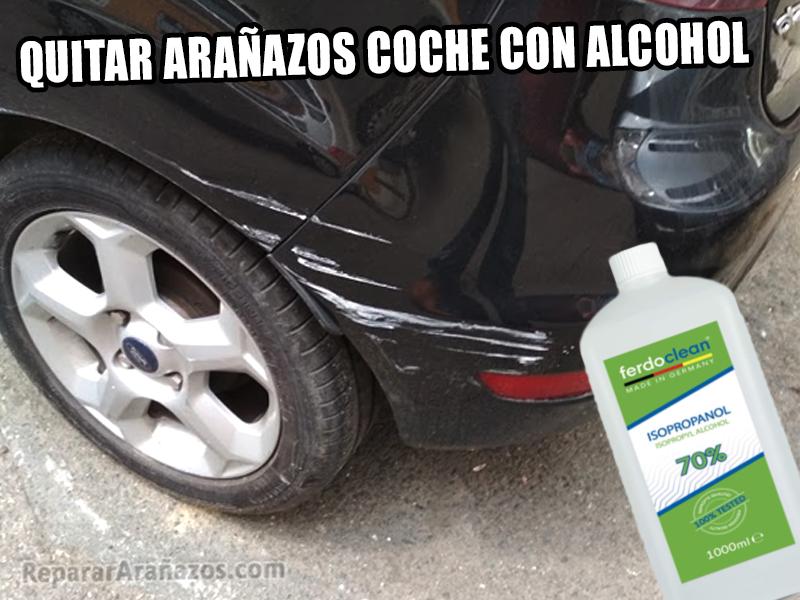 eliminar arañazos coche negro alcohol